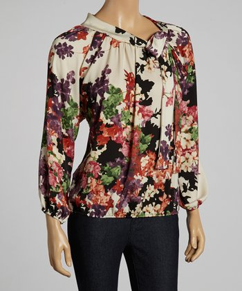 Ivory & Red Floral Knot Top