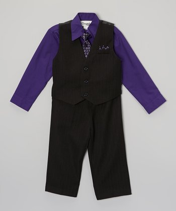 ClassyKidzShop Purple & Charcoal Four-Piece Vest Set - Infant, Toddler & Boys