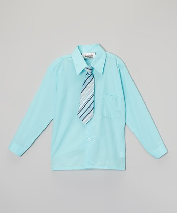 ClassyKidzShop Aqua Button-Up & Tie - Toddler & Boys