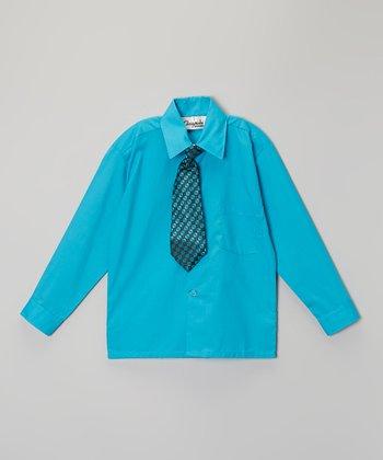 ClassyKidzShop Turquoise Button-Up & Tie - Toddler & Boys