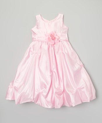 Pink Flower Pick-Up Dress - Toddler & Girls