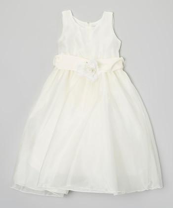 Ivory Mirror Organza Flower Dress - Toddler & Girls