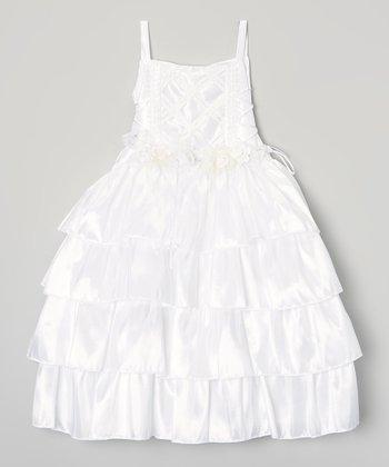 White Tiered Ruffle Dress & Shrug - Toddler & Girls