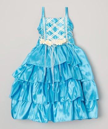 Turquoise Tiered Ruffle Dress & Shrug - Toddler & Girls