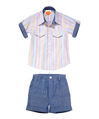 Masala Baby Stripe Player Button-Up & Shorts - Infant