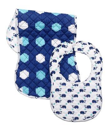 Masala Baby Navy Happy Elephant Bib & Burp Cloth