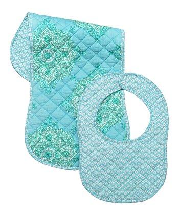 Masala Baby Turquoise Kolam Bib & Burp Cloth