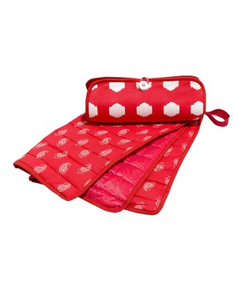 Masala Baby Red & White Ikat Dots Diaper Clutch & Changing Pad