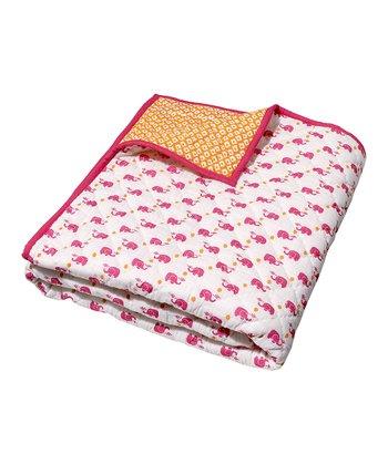 Masala Baby Pink Happy Elephant Moksha Quilt