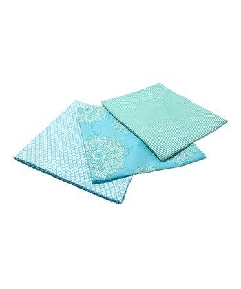 Masala Baby Turquoise Kolam Swaddling Blanket Set