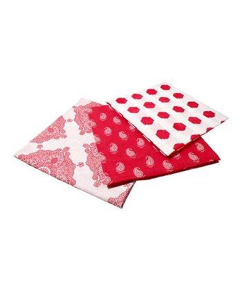 Masala Baby Red & White Kolam Swaddling Blanket Set