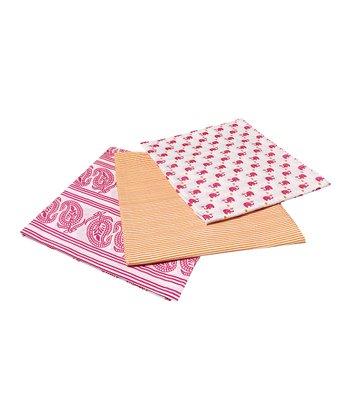 Masala Baby Pink Happy Elephant Swaddling Blanket Set