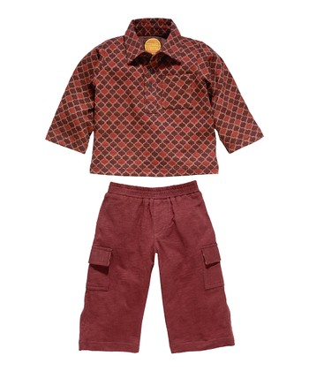 Masala Baby Brown Lattice Polo & Cargo Pants - Infant