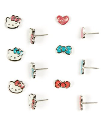 Red & Teal Hello Kitty Earring Set