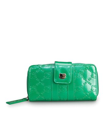 Green Hello Kitty Flap Embossed Wallet