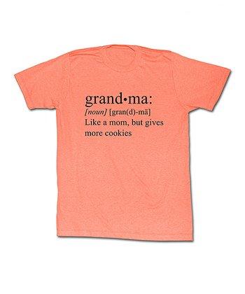 Neon Peach Heather 'Grandma' Definition Tee - Women