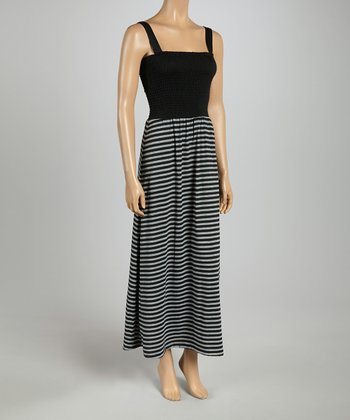 Black & Gray Smocked Stripe Maxi Dress