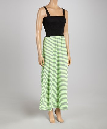 Gray & Green Smocked Stripe Maxi Dress