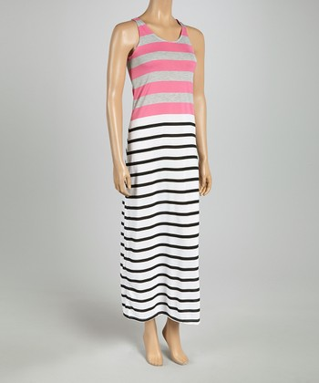 Pink & Gray Stripe Racerback Maxi Dress