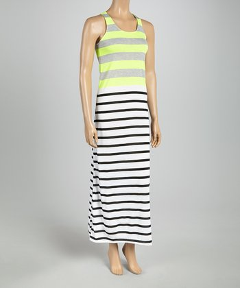 Yellow & Gray Stripe Racerback Maxi Dress