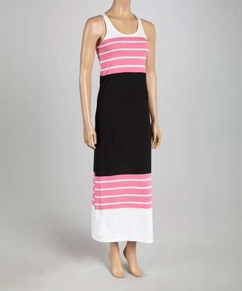 Pink & Black Color Block Racerback Maxi Dress