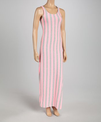 Heather Gray & Fuchsia Stripe Maxi Dress