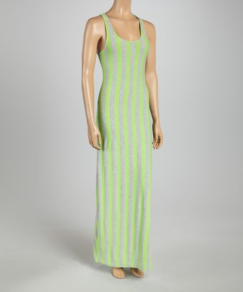 Heather Gray & Green Stripe Maxi Dress