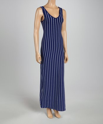Navy & White Pin Stripe Maxi Dress