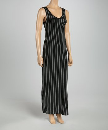 Black & Gray Pin Stripe Racerback Maxi Dress