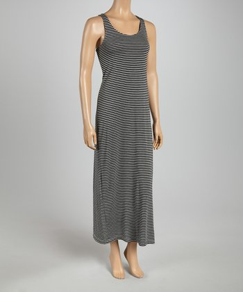 Black Heather Stripe Racerback Maxi Dress