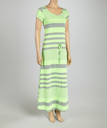 Green & Gray Stripe Cap-Sleeve Maxi Dress