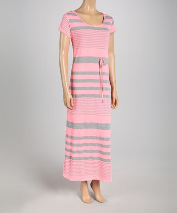 Hot Pink & Gray Stripe Cap-Sleeve Maxi Dress