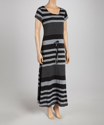 Black & Gray Stripe Cap-Sleeve Maxi Dress