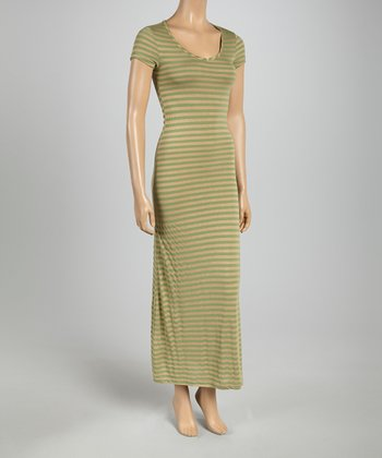 Green & Taupe Subtle Stripe Cap-Sleeve Maxi Dress