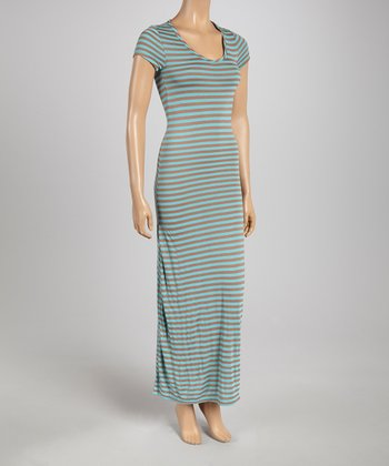 Blue & Brown Subtle Stripe Cap-Sleeve Maxi Dress