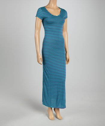 Blue & Purple Subtle Stripe Cap-Sleeve Maxi Dress