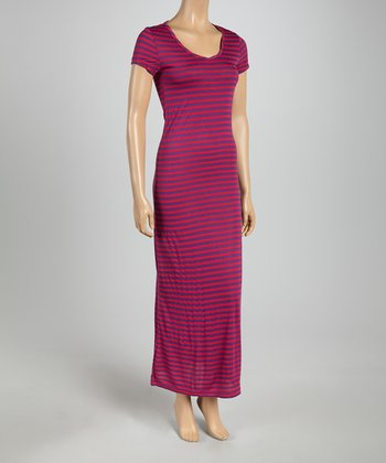 Fuchsia & Purple Subtle Stripe Cap-Sleeve Maxi Dress