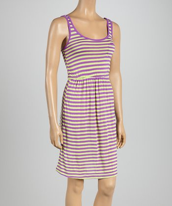 Purple Loop & Fast Lime Stripe Midi Dress