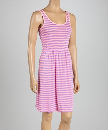 Pink Ticket & Lilac Scream Stripe Midi Dress