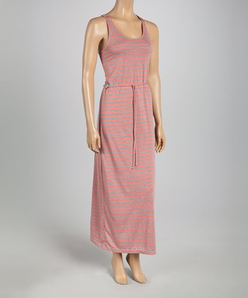 Coral & Heather Gray Stripe Tie-Waist Maxi Dress