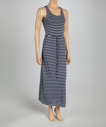Navy & Heather Gray Stripe Tie-Waist Maxi Dress