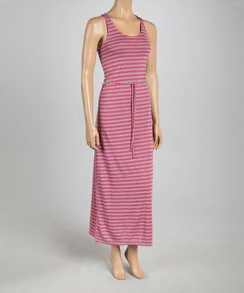 Fuchsia & Heather Gray Stripe Tie-Waist Maxi Dress