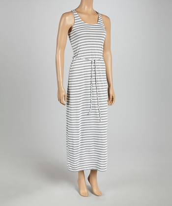 White & Heather Gray Stripe Tie-Waist Maxi Dress