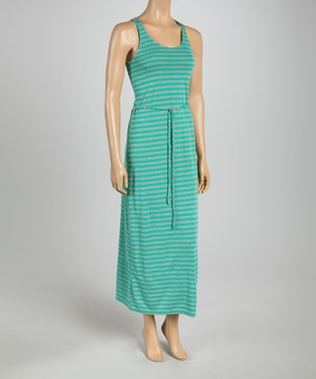 Emerald & Heather Gray Stripe Tie-Waist Maxi Dress