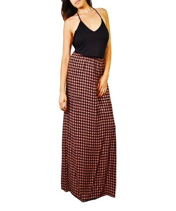 Burlywood & Black Houndstooth Halter Maxi Dress