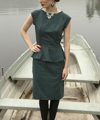 Blue & Green Plaid Margaret Peplum Dress