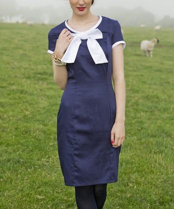 Blue & White Haddington Bow Dress