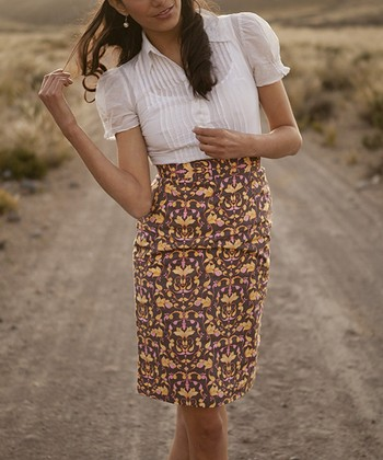 Brown Andes Pencil Skirt