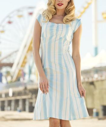 Blue & White Stripe Pier Patrol Dress