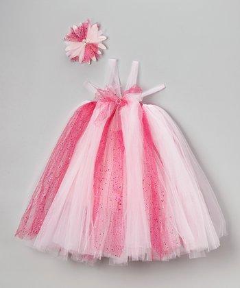 Pink Tulle Dress & Flower Headband - Infant, Toddler & Girls